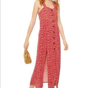 Topshop Petite Floral Buttoned Maxi Dress w/Slits
